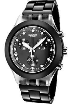 Swatch SVCK4035AG Watches,Irony Diaphane Chronograph White Crystal Black Ion Plated Stainless Steel, Men's Swatch Quartz Watches