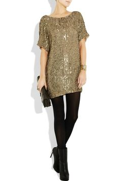 love a gold dress with black tights
