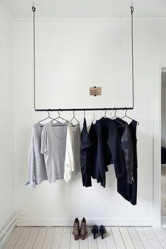 La maison d'Anna G.: Godhemsgatan\ Wardrobe \ Home Decor \ Interior Design Home Staging, Room Inspiration, Interior Inspiration, Creative Closets, Minimalist Closet, Minimalist Clothing, Minimalist Fashion, Hanging Closet, Hanging Wardrobe