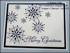 Sharon Field, Stampin Up, Christmas card, Serene Snowflake