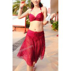 Wholesale Solid Color Halter Neck Hollow Out Design Ruched Three-Piece Swimwear For Women (RED,M), Swimwear - Rosewholesale.com