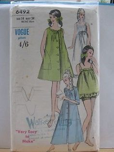 VOGUE-VINTAGE-PATTERN-6492-MISSES-NIGHTGOWN-ROBE-BUST-34-INCHES f1d37a6e1