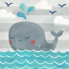 Let's Set Sail Whale Canvas Wall Art #rosenberryrooms #nauticalart #nurseryart