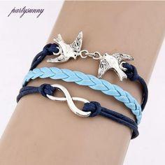 PF Bracelets for Women Man Double Birds Alloy Leather Bracelet Hand Braided Rope Chain Pulseras Hombre Bijouterie Cuff SL044 #Affiliate