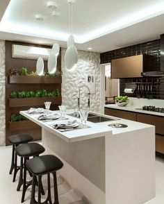 Agencement Cuisine : Cozinha preta branca e bronze com acabamentos modernos e ho. - Agencement Cuisine : Cozinha preta branca e bronze com acabamentos modernos e horta linda! Küchen Design, House Design, Interior Design, Design Interiors, Interior Modern, Layout Design, Design Ideas, Kitchen Interior, Kitchen Decor