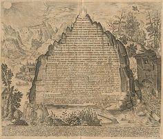 Planche représentant une version latine de la Table d'émeraude gravée sur un rocher dans une édition de l'Amphitheatrum Sapientiae Eternae (1610) de l'alchimiste allemand Heinrich Khunrath.