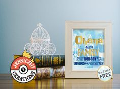 Lilo & Stitch Watercolor Print with Golden Decal Accent - Ohana Means Family, Inspirational, Motivational, Nursery, Home Decor, Wall Prints