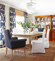dining too, blue and white, natural area rug, slipcovered chairs, navy