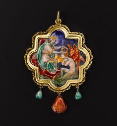 Gold and enamel pendant entitled 'My Lady Crowns Love': Scottish, Edinburgh, by Phoebe Traquair, 1902