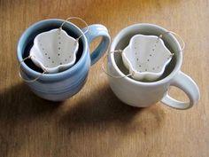 Tea Strainer Porcelain & Brass Ceramic Strainer by AtelierPetit