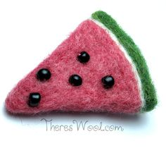 Needle Felted Watermelon Hair Clip Tutorial from http://thereswool.com