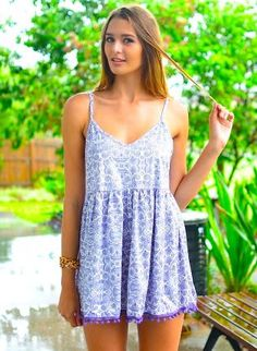 Purple Paisley Print V-Neck Playsuit with Pom Pom Hem, Other, print romper sleeveless, Casual game day!