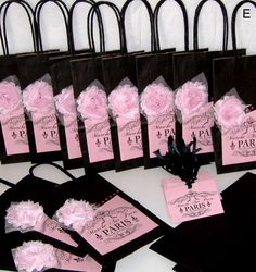 12 French Paris Party Favor Bags Gift Tags and by peppercorns2, $40.50