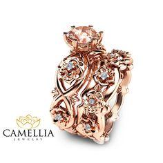 bridal set rose gold morganite engagement rings matching wedding infty diamond ring in Leaf Engagement Ring, Designer Engagement Rings, Morganite Engagement, Engagement Ideas, Morganite Bridal Set, Camilla, Diamond Wedding Rings, Diamond Rings, Bridal Sets