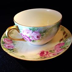 Limoges T V Hand painted Demure Pink Roses Tea Cup and Saucer