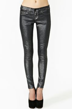 Metallic Skinny Jeans in Gunmetal