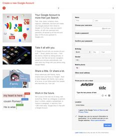 Google Account Creation Google Sign In, Web Forms, Google Account, Accounting, Names, Youtube, Business Accounting