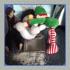 No it didn't snow that day - but our elf on the shelf was determined to see some Of the white stuff that day!