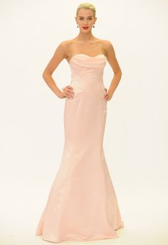 Blush Fit and Flare Straples Wedding Dress | Truly Zac Posen Fall 2014 | The Knot Blog