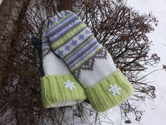 sweater mittenFair Isle sweater mittens purple lime green white and gray fleeced lined sweater mittens sweater gloves stocking stuffers by KatesHandiwork