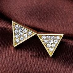 Pair of Cute Faux Crystal Triangle Shape Stud Earrings For Women #CLICK! #clothing, #shoes, #jewelry, #women, #men, #hats
