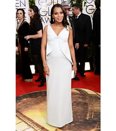 @Who What Wear - WHO: Kerry Washington WHAT: Nominee for Best Performance by an Actress in a Television Series Dramafor Scandal. WEAR: custom Balenciaga dress; Fred Leighton 1920's diamond pendant earrings in platinum, Art Deco rock crystal and diamond brooch, and 1920's diamond and onyx ring; Movado watch; Balenciaga clutch; Casadei white leather cage sandals.