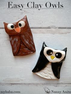 How to Make Clay Owls | Nanny Anita | My Baba Make Your Own Clay, How To Make Clay, Clay Pinch Pots, Clay Owl, Round Cookie Cutters, Crafts For Kids, Arts And Crafts, Polymer Clay Bracelet