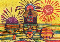 70 x 50 cm. House of sunrise and sunset. Art Area, Sunrise, Unique Jewelry, Handmade Gifts, Painting, Vintage, Etsy, House, Kid Craft Gifts