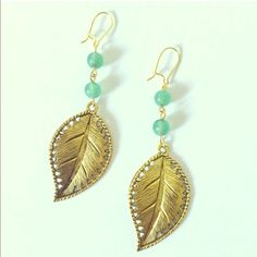 Gold Green Leaf Dangle Earrings Handmade by me! Great style for fall! Make them yours today! Handmade Jewelry Earrings