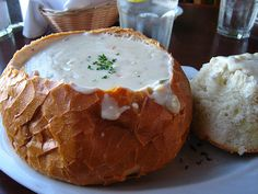 Market Street clam chowder in a crock pot (and a bread bowl)