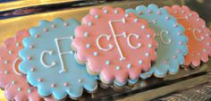 Monogram Decorated Sugar Cookies Baby Shower Bridal Shower Birthday Party Favors. $17.00  via Etsy..