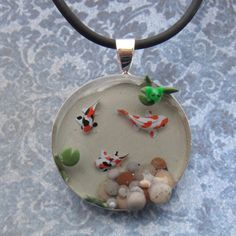 Koi Fish Pond Pendant / Necklace with Tiny Frog, Lily Pad and Pebbles- Polymer Clay and Resin