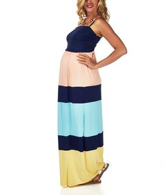 Look at this PinkBlush Maternity Pink & Navy Color Block Maternity Maxi Dress on #zulily today!