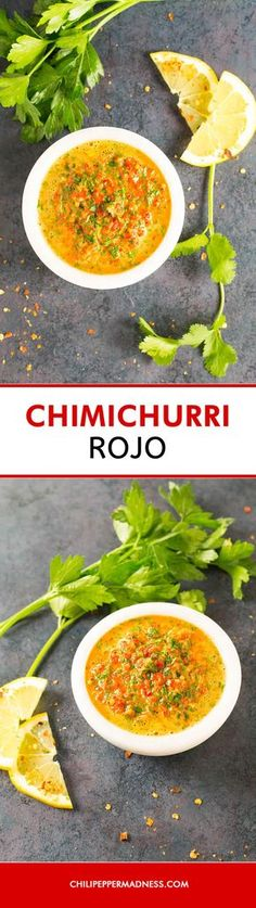 Easy Chimichurri Rojo (Red Chimichurri) - A red version of the timeless Argentinian chimichurri sauce recipe, which can also be used as a marinade, made with plenty of fresh herbs, garlic, vinegar, olive oil, and red bell pepper. Whip this together in minutes to add depth and sophistication to many meals.