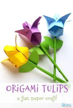Origami Tulips: A Fun Paper Craft! # origami crafts Origami Tulips: A Fun Paper Craft! Tulip Origami, Easy Origami Flower, Origami Flowers Tutorial, Kids Origami, Paper Crafts Origami, Paper Flowers Diy, Origami Art, Flower Tutorial, Flower Crafts