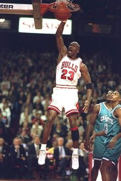 Michael Jordan - Chicago Bulls sends it home against the team he would own in the future, the Charlotte Hornets.