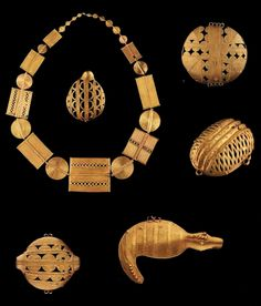 Africa | A collection of 5 pendants and a necklace from the Akan people of Ghana and the Ivory Coast. | The gold content of the individual pieces ranges from 5 to 10k gold.