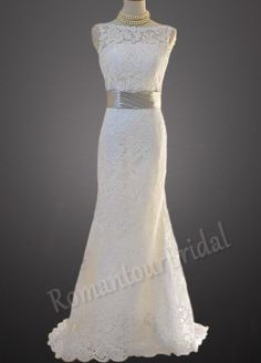 Hot Ivory Sleeveless Sweep Train Open Back Lace by RomantourBridal, $196.99 le sigh...