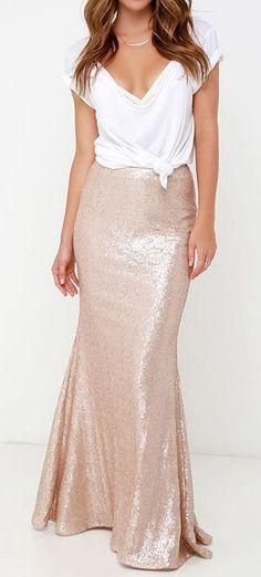 Rose gold sequin maxi skirt