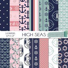 High Seas Nautical Digital Scrap Paper Pack  Instant Download