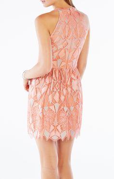 Megyn Halter-Neck Deco Lace Dress