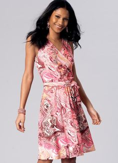 Kwik Sew mock wrap dress sewing pattern in short and maxi lengths. K4169 Misses' Surplice, A-Line Dresses and Sash
