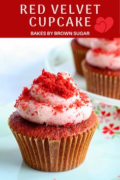 This easy recipe for Red Velvet Cupcakes produces a moist fluffy cupcake and is paired with a strawberry mascarpone frosting that is simply amazing. Red Cupcakes, Red Velvet Cupcakes, Baking Cupcakes, Cupcake Recipes, Baking Recipes, Dessert Recipes, Mocha Cupcakes, Gourmet Cupcakes, Strawberry Cupcakes