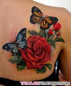 Amazing Butterfly Tattoo Designs roses and batterflyes by - Amazing Butterfly Tattoo Designs !roses and batterflyes by - Amazing Butterfly Tattoo Designs ! Rose And Butterfly Tattoo, Rose Tattoo On Back, Butterfly Tattoo Meaning, Butterfly Tattoo On Shoulder, Butterfly Tattoos For Women, Butterfly Tattoo Designs, Tattoo Flowers, Tattoo Roses, Butterfly Design