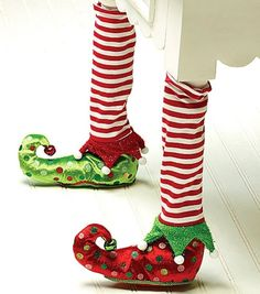 Christmas Chair Leg Covers - Elf Stockings and Slippers Christmas Chair Leg Covers-Set of 2  Link    #Christmas #Christmas2014