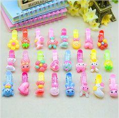 Fashion Kawaii hair clip Rabbit Bow Flower Hairpin Solid Children Girls Hair Clips