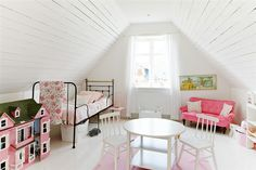 White attic bedroom. Pink dollhouse. Pink sofa. Girls bedroom. #bunnyinthewindow
