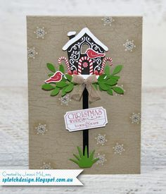Candy Cane Lane Christmas Birdhouse Card