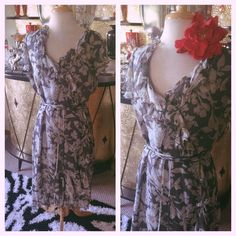 Retro 1940s Style Dress Gray Floral Wrap L XL 1930s Pinup Swing 40s Rockabilly | eBay