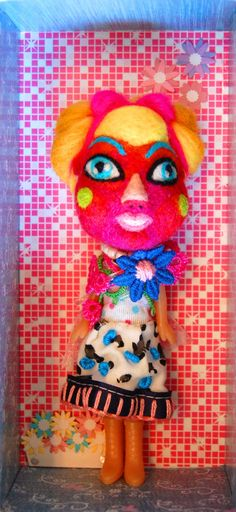 Art doll, OOAK doll, mixed media doll, hand embroidered, needle felted wool, contemporary art and design, felt , kawaii, gift, unique doll.